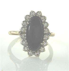 Estate Onyx Diamond 14K Yellow White Gold Vintage Jewelry Ring 5 UK