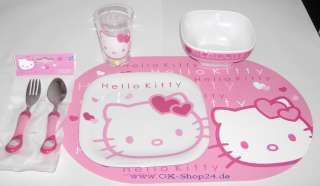 tl Hello Kitty Geschirr Set Teller Besteck Becher NEU