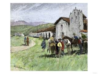 Group of Vaqueros Outside Santa Inez Mission in California, 1800s