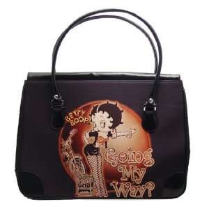 BETTY BOOP OVERNIGHT BAG BLACK NYLON WITH LARGE OPENING