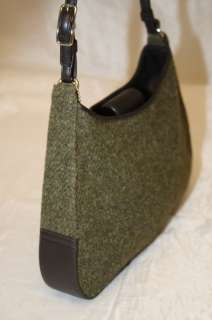 COACH MODEL WOOL TWEED W/ LEATHER HAMPTONS H0K 8125 GREEN HOBO