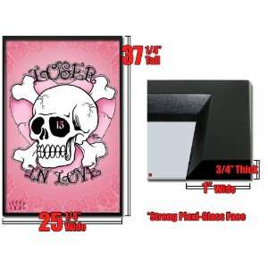 Framed Loser In Love Lucky 13 Skull Pink Heart Fr33416: Home & Kitchen