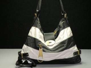 Black White Stripe Faux Leather Purse Handbag Tote Bag