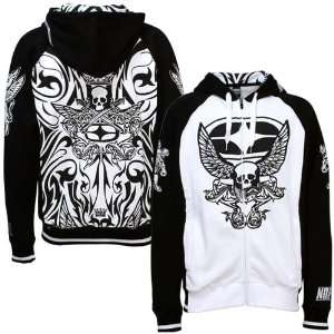 No Fear White Black Tattoo Full Zip Hoody Sweatshirt