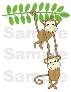 MONKEYS JUNGLE BABY NURSERY WALL BORDER STICKERS DECALS