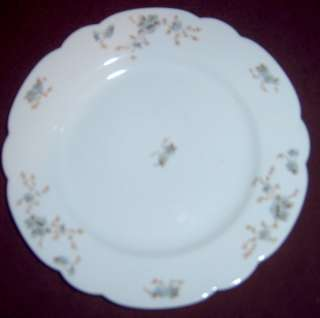 Austria Scalloped Edge Blue Brown Floral Dinner Plate