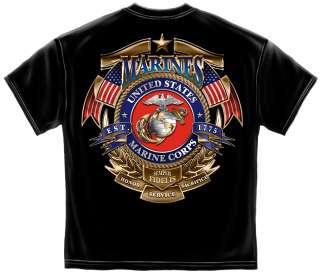 Official Marine Corps Logo T Shirt golden army veteran usa flag USMC
