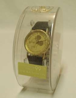 NIB Vintage DISNEY Mickey Mouse Lorus Quartz Gold Coin Watch