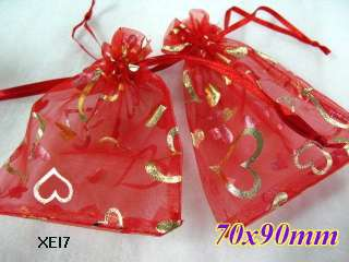valentines day gift heart organza wedding Gift Favor bags 7x9cm XEI7