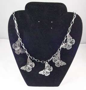 Pretty silver tone butterfly charm chain necklace 18