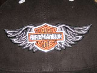 12 LOT WHOLESALE HARLEY DAVIDSON BAR & SHIELD WINGS HAT CAP BLACK NEW