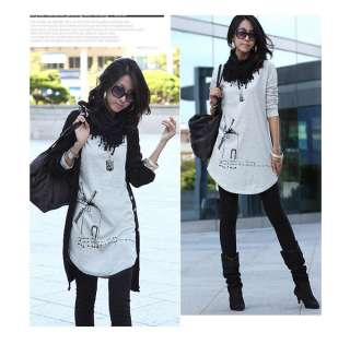New WomenS Cute Fashion White/Black/Grays Stylish Long Sleeve Shirt