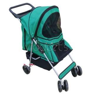 Green 4 Wheels Pet Dog Cat Stroller HEAVY DUTY
