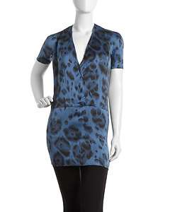 Stella McCartney Leopard Print Wrap Detail Silk Blouse