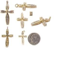 Beautiful Solid Gold Diamond Cross Estate Charm Pendant