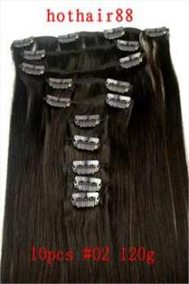10pcs 22 Inch Human Hair Clip In Extension 38Wide120g
