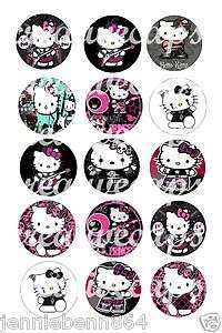 Hello Kitty Rock Emo Punk  30 Precut Bottle cap diecut hairbow images