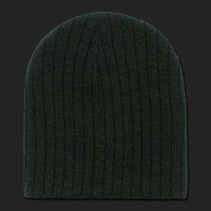 Solid Black Cable Beanie Knit Cap Skully Winter Hat