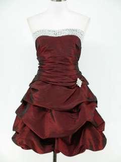 dress190 BURGUNDY SATIN PLUS SIZE STRAPLESS PROM COCKTAIL BALL DRESS