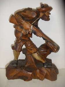 Antique Black Forest wood Figural man hunting figure
