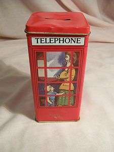 Red Telephone Booth Bank Tin Pictures of Women & Child in Booth