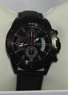 Guess U16528G1 Mens Chronograph Black Leather Strap Watch. U16528G1