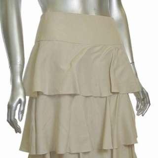 Sutton Studio Womens Silk Tiered Ruffle Layer Skirt