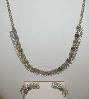 Vtg Necklace Earring Set 48 Crystal Rhinestones Silver