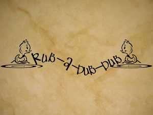 RUB A DUB DUB BATH DUCKY Vinyl Wall Quote Decal NEW
