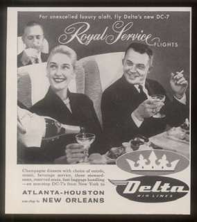 1958 Delta Airlines First Class Royal Service flight ad
