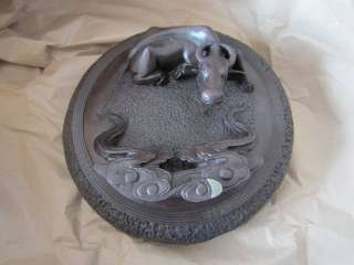handmade folk art stone sculpture carving inkstone, buffalo and cloud