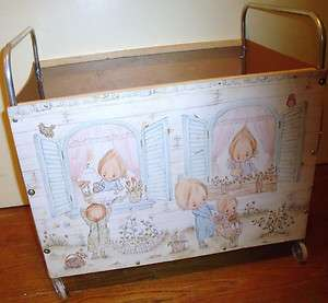 VINTAGE PRECIOUS MOMENTS ROLLING TOY CHEST, TOY BOX CIRCA 1977