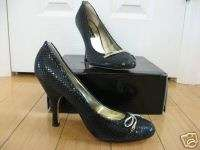 VS catalog Steven Madden $110 black snake bow pumps 10
