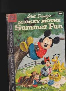 1958 Dell Giant  Walt Disneys Mickey Mouse Summer Fun #1
