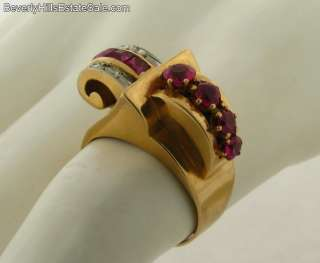 Antique Art Deco 7 Rubies 18k Gold Ring