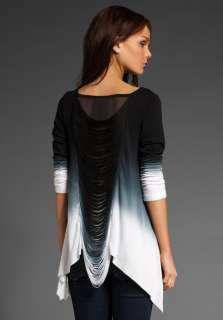 YOUNG, FABULOUS & BROKE Bridget Top in Black to White Dip Dye at