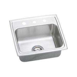 Top Mount Stainless Steel 19x18x7.875 3 Hole Single Bowl Kitchen Sink