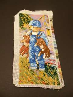 Little Boy Blue with his Teddy Bear Needlepoint