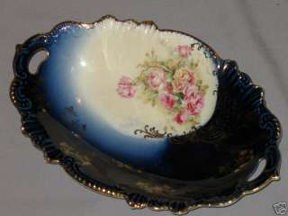 VINTAGE ROYAL BAVARIAN HP CHINA BOWL ROSES COBALT BLUE