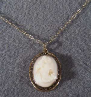 ANTIQUE YELLOW GOLD FANCY CAMEO CHARM PENDANT NECKLACE