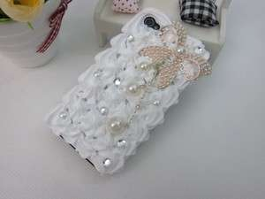 3D Pearl Bow Cake Cream Bling Crystal Case Cover for iPhone 4 4S White