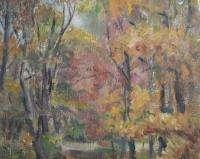 Antique Polish oil painting cityscape signed J.Cybis