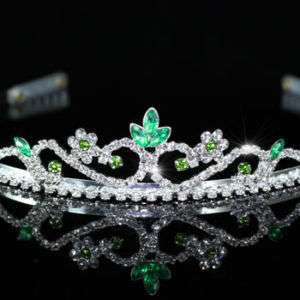 Green Crystal Bridal Wedding Prom Tiara T1202