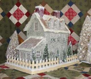 Colonial Primitive Brown Stone Lighted Putz Christmas House Paper