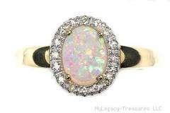 Harlequin solid opal diamonds engagement 14K gold ring Australian love
