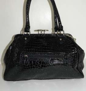 NEW CARLOS SANTANA LARGE BLACK CROC MARIA MARIA BAG KISSLOCK FRAME