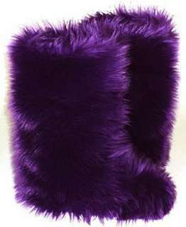 Royal Purple Faux Fur Boots   Fluffy Fuzzy Boots