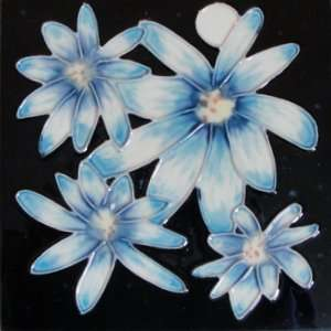 Blue Flower Wall Art Tile Ceramic Trivet 6x6 Coaster