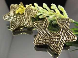 Ethnic Miao Tibet Silver Gold Tone Star Hoop Earrings T343