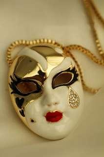 1pcs Fashion unique teardrop Enamel Mask Chain Necklace N1 852